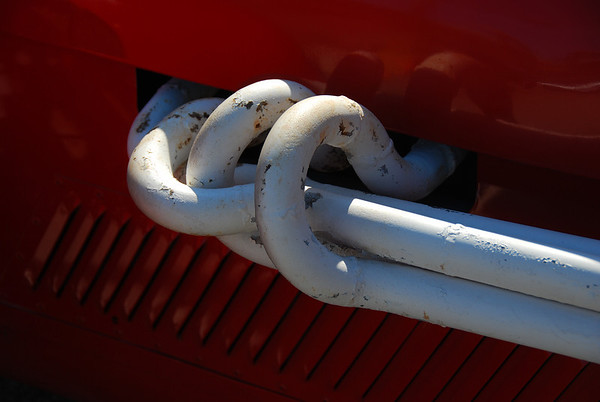 red car with white pipes